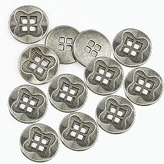 RECHERE 12 PCS Antique Flower Pattern Flat Metal Buttons 4-Hole Craft for DIYS Sewing Embellishment (Antique Silver,18mm)