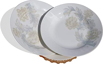 "Floral Bone China Salad Plate 4 Pieces - 8"" Dinnerware Set with Coasters and Cleaning Sponge - BE107, by BothEarn"