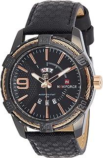 ساعة كلاسيكية انالوج بسوار ستانلس ستيل ومينا اسود للرجال من نافي فورس - NF9117L-BRG