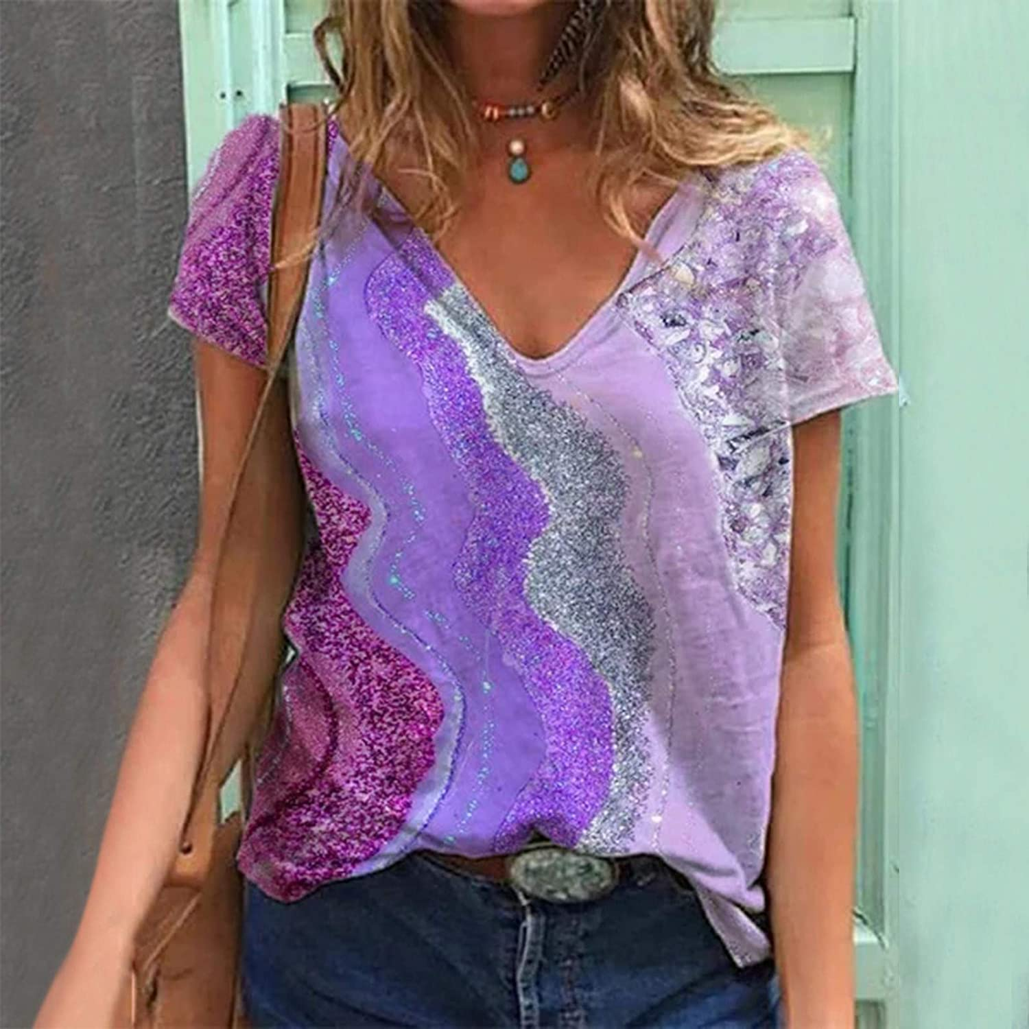 Womens Short Sleeve T Shirts V Neck Plus Size Tie Dye Tops Summer Comfy Basic Tunics Breathable Blouse