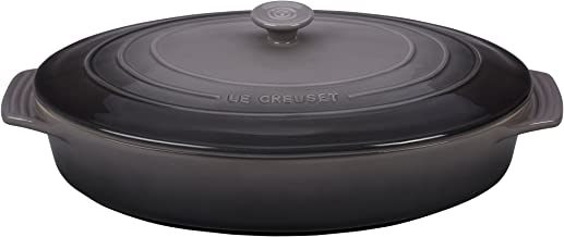 Le Creuset Stoneware Covered Oval Casserole, 3-3/4-Quart, Oyster