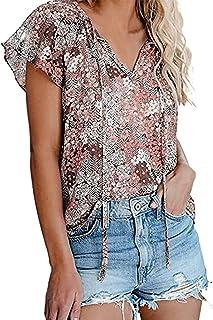 Cotrio Blusas Boho de verão floral feminino com decote em V manga curta casual solta camiseta superior