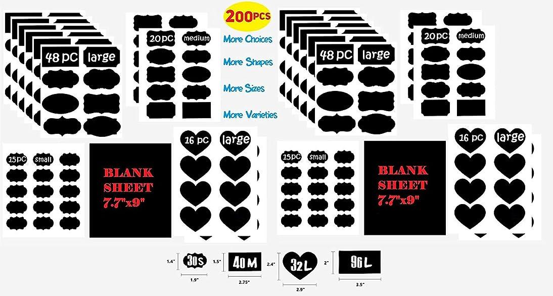 200 Premium Black Matte Chalkboard Labels Bulk Lot - Dishwasher Safe Board Mason Jar Labels - Removable Waterproof Blackboard Sticker for Jars Glass Bottle Bake Sale Trade Show Kitchen Pantry Kids