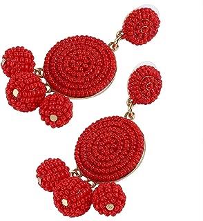 Tbestmax Fashion Statement Drop Earrings for Women Dangle Beaded Earring Hoop Ear Ring Round Whimsical Handmade Red