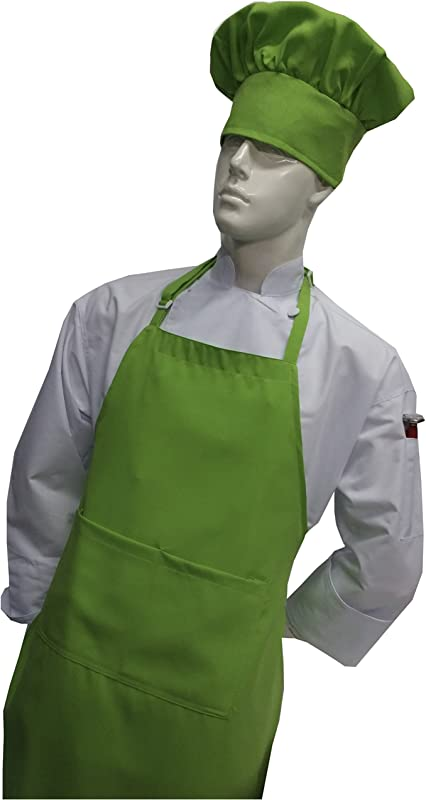 Children Kids Lime Green Chef Set Apron Adjustable Hat Real Fabric Lightweight 2X XXL Big Tall