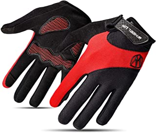 WHEEL UP Red Cycling Gloves Full Finger for Women Padded Gel Touchscreen Non-Slip Thin Breathable Outdoor Gloves
