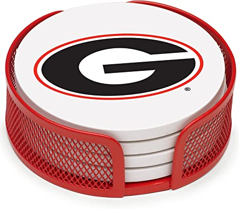 Amazon Com Thirstystone Stoneware Drink Coaster Set With Holder University Of Georgia Kitchen Dining