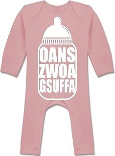 Shirtracer Oktoberfest & Wiesn Baby - Babyflasche Oans Zwoa Gsuffa weiß - Baby-Body Langarm für Jungen und Mädchen