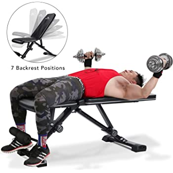 MaxKare Adjustable Weight Bench Foldable Workout Exercise Bench with Truly 33.5'' Backrest, Automatic Lock, 7+3+2 Positions, Multi-Purpose 882 lbs Incline Decline Folding Bench