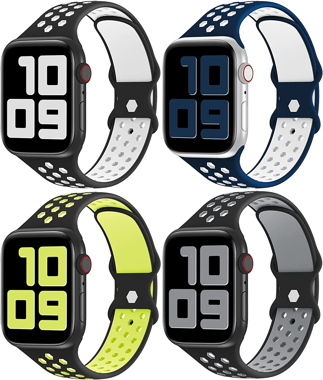YAXIN 4 Pack Sport Bands Compatible with Apple Watch Bands 44mm 42mm 40mm 38mm for Women Men,Breathable Durable Soft Silicone Replacement Strap Band for Apple Watch SE iWatch Series /6/5/4/3/2/1