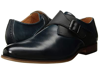 Stacy Adams Sutcliff Plain Toe Monk Strap (Ink Blue) Men