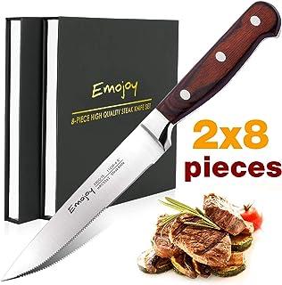 Emojoy Couteaux à Steak, 2 Sets Couteaux de Table Premium Acier Inoxydable 16 Pièces,..