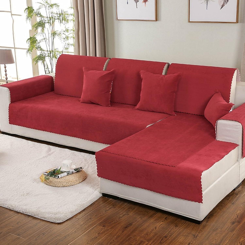YQ WHJB Wasserdicht Sofa Handtuch,Volltonfarbe sofabezug,Multi-Größe Anti-rutsch-Sofa slipcovers,Haustiere und Kinder Decken für Couch Couch-Rot 90x260cm(35x102inch)