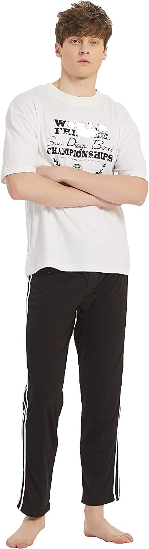 Mucwer Men's Adult X-Temp Short Sleeve Cotton Raglan Shirt and Pants Pajamas Pjs Sleepwear Lounge Set