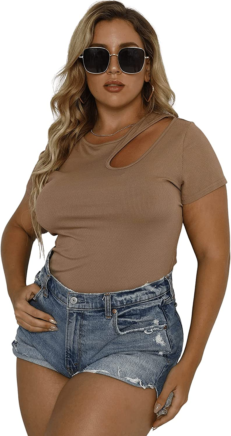 SOLY HUX Women's Plus Size Cut Out Short Sleeve T Shirt Round Neck Tee Top