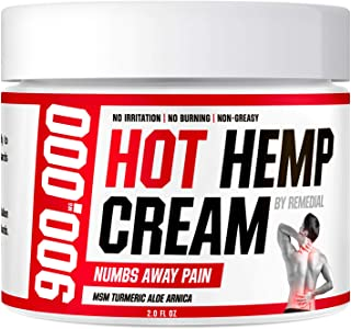 Hot Hemp Cream - 900000 MG - Arthritis, Carpal Tunnel, Inflammation, Back, Foot, Nerve, Joint, Muscle, Neck Pain, Natural ...