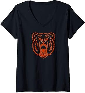 Womens Vintage Chicago City Distressed Pro Football Club Champ Team V-Neck T-Shirt