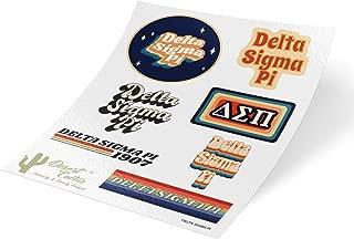 Delta Sigma Pi 70's Themed Sticker Sheet Decal Laptop Water Bottle Car (Full Sheet - 70's)