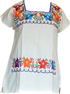 Autentic Traditional Women's Mexican Peasant Blouse Cotton Tops Shirt Embroidered on Looms of Mexican Artisan (Medium, Beige)