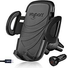 Air Vent Phone Car Mount with USB C Charger, VOLPORT Quick Release Hands Free Rotating Cell Phone Holder with USB C Cable for Samsung S10 S9 Google Pixel 3 3XL 2 2XL Huawei Mate 20 Pro