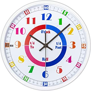 45Min Teaching Clock, Silent Movement, Educational Clock, Makes Kids Learning Time Faster and Fun. Child Clock Perfect for Parents and Teachers, Decorate Kids Bedroom or Classroom, 5 Colors(White)