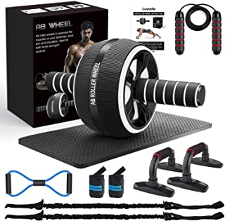 10-In-1 Ab Wheel Roller Kit with Resistance Bands, Knee Mat, Jump Rope, Push-Up Bar - Home Gym Equipment for Men Women