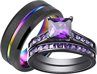 SHELOVES Black Plated Couples Women Purple Wedding Rings Sets His and Hers Men Tungsten Wedding Band