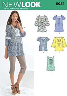 New Look sewing pattern 6027: Misses' Tunic or Tops size A (10-12-14-16-18-20-22)