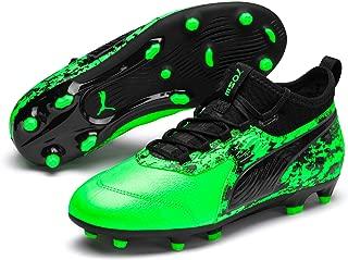 PUMA Boys ONE 19.3 FG/AG JR Football Boots, Green Gecko Black-Charcoal