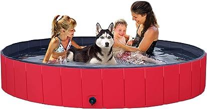 استخر استخر حمام Yaheetech تاشو توپی استخر Kiddie ، استخر حمام مخصوص گربه های سگ و بچه ، قرمز / آبی ، L / M / S