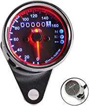 INNOGLOW Motorcycle Tachometers Speedometers Universal Backlit Dual Odometer Speed Gauge LED Backlight Neutral Headlight Turn Signal Indicator KMH