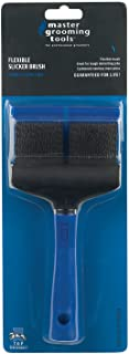 """Master Grooming Tools Double-Sided Extra Firm Flexible Slicker Brushes—Versatile Brushes for Grooming Dogs - Blue, 8""""L x 4""""W"""
