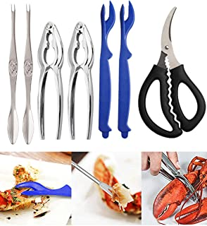 Seafood Tools Crab Crackers Stainless Steel Lobster Crackers and Picks Set Forks Nut Cracker Set Opener Shellfish Lobster Crab Leg Crackers and Tools