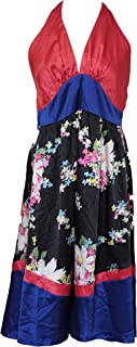 Knee Length Halter Dress, Large - Black/Red/Purple