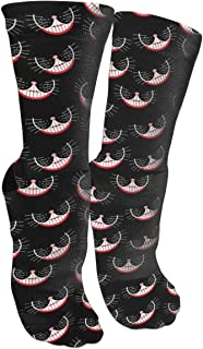 Cheshire Cat Smile Pattern Crazy Sock Funny Colourful Moisture Control Crew Socks For Arch Support