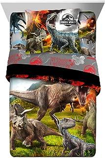 TN 2 Piece Kids Orange Black Jurassic World Comforter Twin/Full Set, Dinosaur Themed Bedding T-Rex Raptors Pattern Reptiles Dino Movie, Reversible Polyester