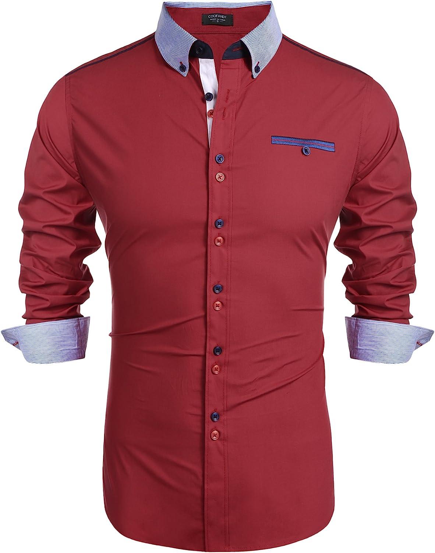 COOFANDY Men's Long Sleeve Button Down Shirt Fashion Slim Fit Dress Shirts
