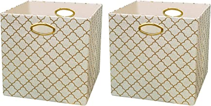 Posprica Storage Bins, Storage Cubes,13×13 Fabric Drawers Organizer Basket Boxes Containers (2pcs, Lotus Leaf lace-Beige)