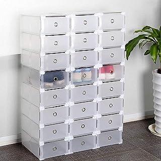 Boîtes à chaussures Supports à chaussures, paquet de 24 boîtes à chaussures, rangement pour boîtes à chaussures en plastiq...