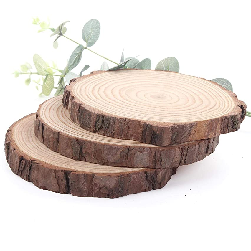 3 Pcs Wood Slices with holes NaturaL Unfinished Predrilled DIY Round Discs ornaments Tree Bark Wooden Circles with 33 Feet Natural Jute Twine Round Log Discs - Ranging from4.7 inch to 5.5 inch