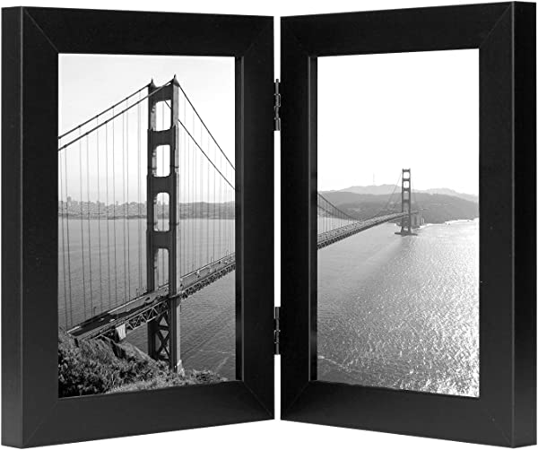 Frametory 5x7 Inch Hinged Picture Frame Displays Two 5x7 Inch Pictures Stands Vertically On Desktop Or Table Top 5x7 Double Black