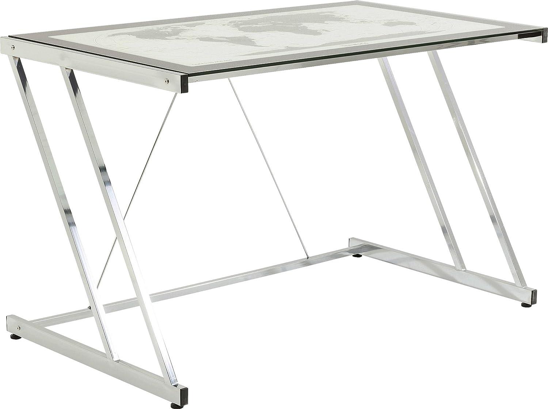 Kare Design Schreibtisch Mundi, moderner Design Computertisch mit Metallgestell, Silber (H B T) 74x120x70