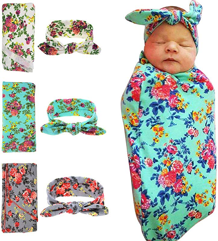 MQUPIN Baby Swaddle Blanket Newborn Receiving Blanket Flower Printed Newborn Baby Swaddling With Rabbit Ear Headbands Baby Photography Props Green