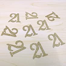 100 PCS Gold Glitter Number 21 Table Confetti 21st Birthday/Anniversary Celebrating Decorations