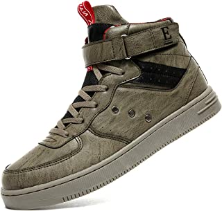 Littleplum Men's Fashion High Top Leather Street Sneakers Sports Casual Shoes