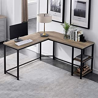 Furnichoi Computer Desk L-Shaped, Vintage Wood and Metal L Desk with Shelf, for Home Office 59 inch