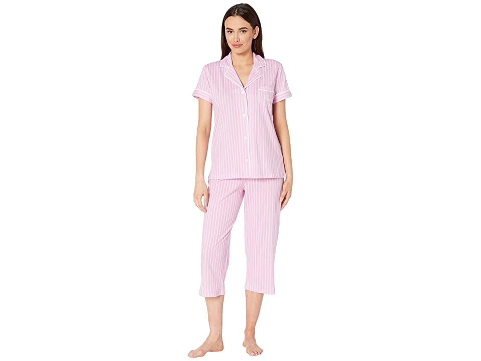 LAUREN Ralph Lauren Short Sleeve Notch Collar Capris Pajama Set (Pink Stripe) Women