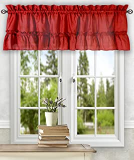 Simple Comfort Ellis Curtain Stacey 54-by-13 Inch Ruffled Filler Valance (Red)