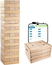 Giant Tumbling Timber Toy - 60 Extra Jumbo Wooden Blocks Floor Game for Kids and Adults, w/ Storage Crate/Game Table-No As...