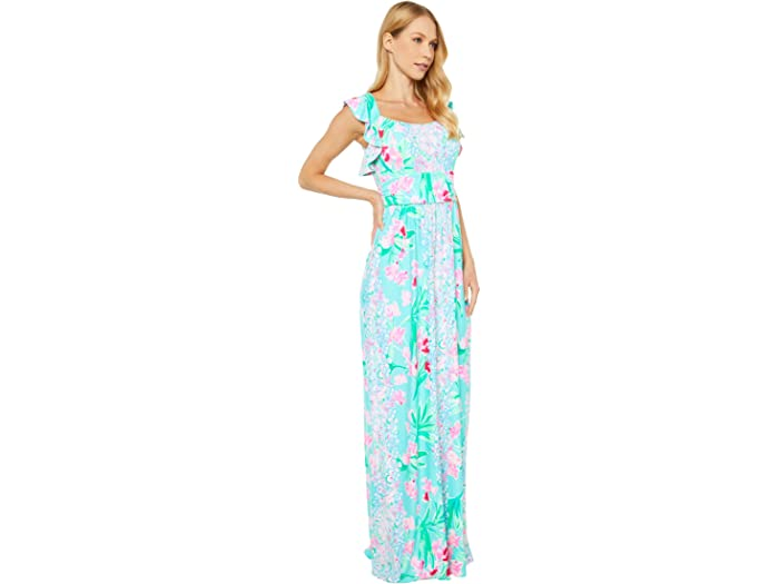 Lilly Pulitzer Cristal Maxi Dress Aqua Al Fresco Isn't She/lovely Engineered Dresses